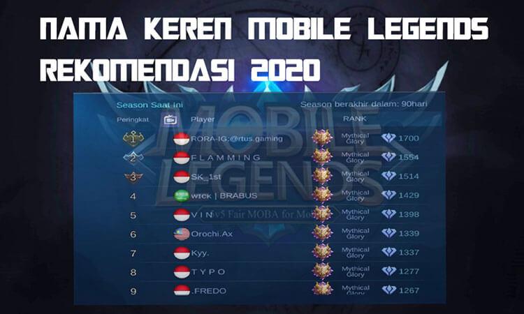 999 Nama Keren Mobile Legends Rekomendasi 2021 Viraloke Com