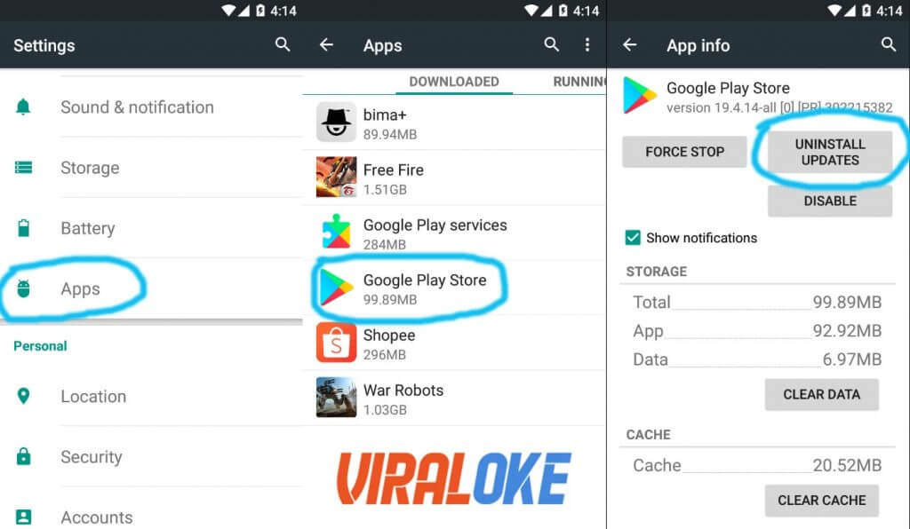 Menguninstall Update Google Play Service