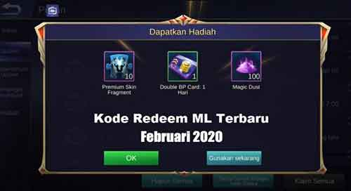 Kode Redeem ML Februari 2020 Terbaru Worked!