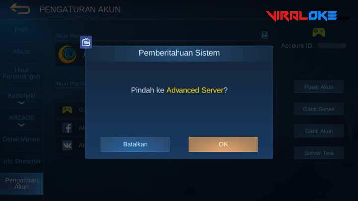Cara Masuk Advance Server ML