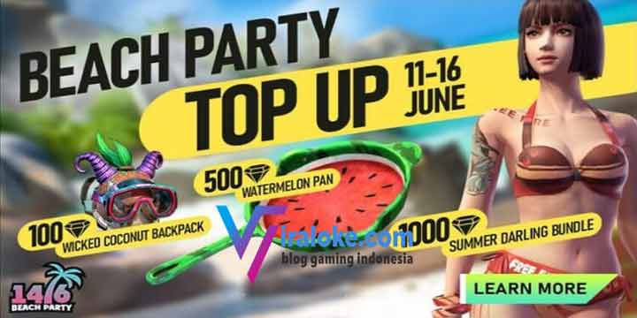 Free Fire Beach Party Top Up Event