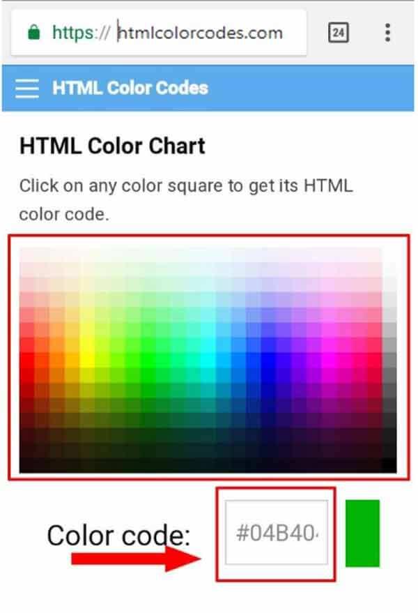 Gambar Chart Kode Warna Lengkap