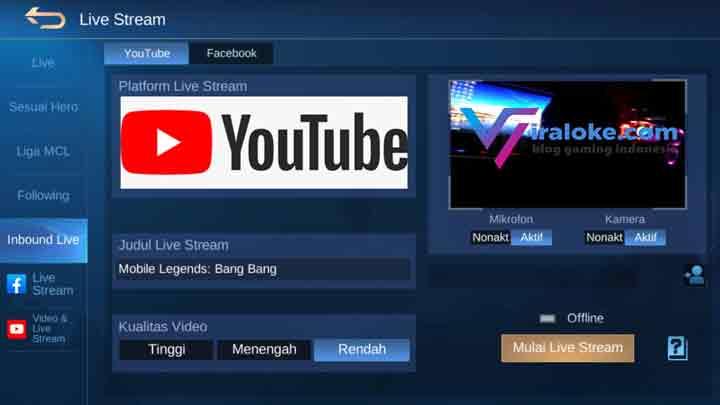 Cara Membagikan Live Streaming Mobile Legends ke Facebook atau YouTube