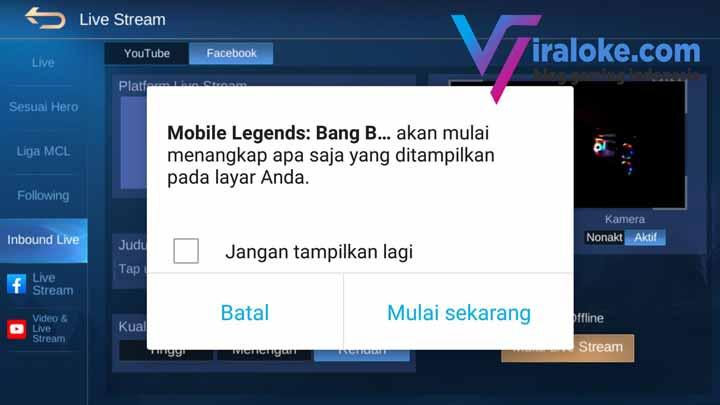 Cara Membagikan Live Streaming Mobile Legends