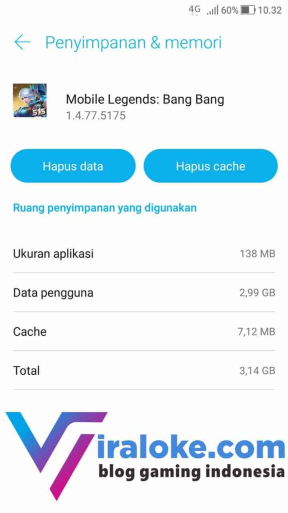 Hapus Data dan Cache Mobile Legends