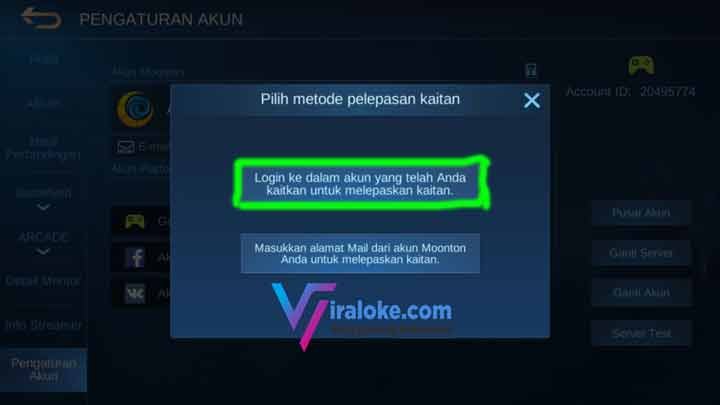 cara unbind akun mobile legends