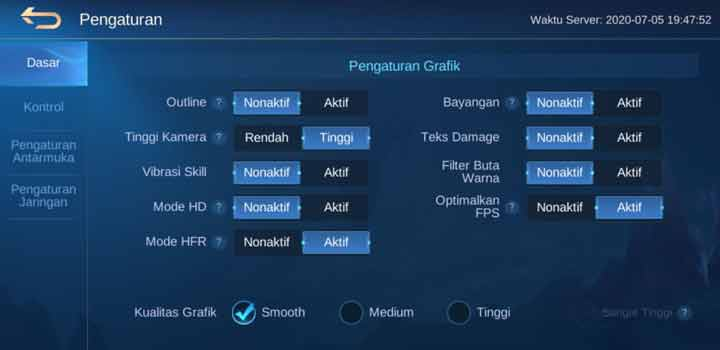 Pengaturan Grafik Mobile Legends