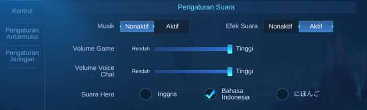 Pengaturan Suara Mobile Legends