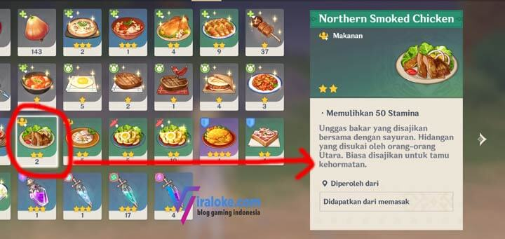 Makanan Pengisi Stamina Northern Smoked Chicken Genshin Impact