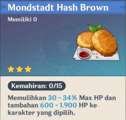 Makanan Pengisi Darah Mondstadt Hash Brown
